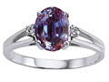 10k Gold Lab Created Alexandrite and Genuine Diamond Ring