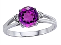 10k Gold Genuine Amethyst and Diamond Ring