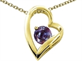10k Gold Heart Shaped Lab Created Round Alexandrite Pendant