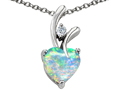 925 Sterling Silver 14K White Gold Plated Lab Created Heart Shaped  Opal Pendant