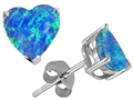 14K White Gold Plated 925 Sterling Silver Heart Created Blue Opal Earring Studs