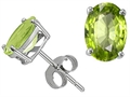 Genuine Oval Peridot Earring Studs