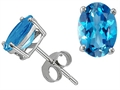 Genuine Oval Blue Topaz Earring Studs