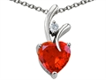 925 Sterling Silver 14K White Gold Plated Created Heart Shape Orange Mexican Fire Opal Pendant