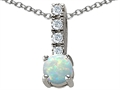 14K White Gold Plated 925 Sterling Silver Created Opal Pendant
