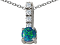 14K White Gold Plated 925 Sterling Silver Created Blue Opal Pendant