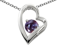 14k White Gold Plated 925 Sterling Silver and Lab Created Round Alexandrite Heart Pendant