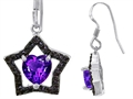 925 Sterling Silver 14K White Gold Plated Heart Shaped Genuine Amethyst Black Star Hanging Hook Earrings