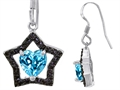 925 Sterling Silver 14K White Gold Plated Heart Shaped Genuine Blue Topaz Black Star Hanging Hook Earrings