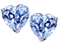 14K White Gold Plated 925 Sterling Silver Heart Created Aquamarine Earring Studs