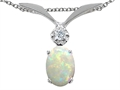 14k White Gold Genuine Opal and Diamond Pendant