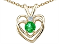 14k White Gold Created Emerald and Genuine Diamond Heart Pendant