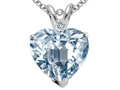8mm Heart Shaped Created Aquamarine and Genuine Diamond Pendant
