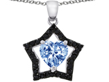 925 Sterling Silver 14K White Gold Plated Heart Shaped Created Aquamarine and Black Quartz Star Pendant