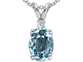 14k White Gold AAA Created Oval Aquamarine and Genuine Diamond Pendant