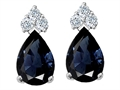14k White Gold Genuine Sapphire and Diamond Earrings