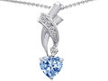 925 Sterling Silver 14K White Gold Plated Created Heart Shaped Aquamarine Pendant