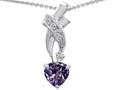 925 Sterling Silver 14K White Gold Plated Created Heart Alexandrite Pendant