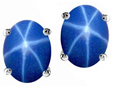 14k White Gold Genuine Lab Created Star Sapphire Earring Studs