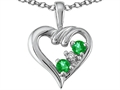 14K Gold Genuine Emerald and Diamond Heart Pendant