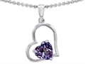 14k White Gold Plated 925 Sterling Silver and Created 8mm Heart Shape Alexandrite Pendant