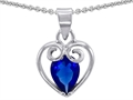 14k White Gold Plated 925 Sterling Silver and Created  Pear Shape Sapphire Pendant