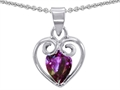 14k White Gold Plated 925 Sterling Silver and Created  Pear Shape Alexandrite Pendant