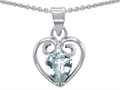 14k White Gold Plated 925 Sterling Silver and Simulated  Pear Shape Aquamarine Pendant