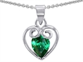 14k White Gold Plated 925 Sterling Silver and Simulated  Pear Shape Emerald Pendant