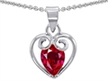 14k White Gold Plated 925 Sterling Silver and Created  Pear Shape Ruby Pendant