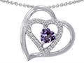 14k White Gold Plated 925 Sterling Silver and  Created  Heart Shape Alexandrite Pendant