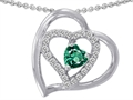 14k White Gold Plated 925 Sterling Silver and Simulated  Heart Shape Emerald Pendant