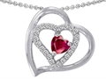 14k White Gold Plated 925 Sterling Silver and Created  Heart Shape Ruby Pendant