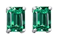 14K White Gold Plated 925 Sterling Silver and Simulated Emerald Cut Emerald Earrings