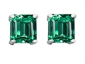 14K White Gold Plated 925 Sterling Silver and Simulated Square Emerald Earrings