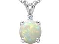 14k White Gold Genuine 8mm Round Opal and Diamond Pendant