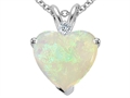14k White Gold Genuine 8mm Heart Shape Opal and Diamond Pendant