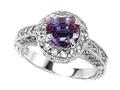 925 Sterling Silver 14K White Gold Plated Lab Created Round Alexandrite Engagement Ring