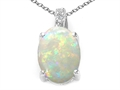 14k White Gold Genuine Oval Opal and Diamond Pendant