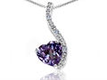 14k Gold Created Heart Shape Alexandrite and Diamond Pendant