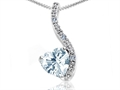 14k Gold Genuine Heart Shape Aquamarine and Diamond Pendant
