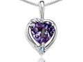 14k Gold Lab Created Heart Shape Alexandrite  and Diamond Pendant
