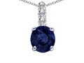 14k White Gold Genuine Round Sapphire and Diamond Pendant