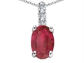 Tommaso Design(tm) Genuine Oval Ruby and Diamond Pendant
