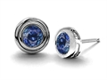 14K White Gold Plated 925 Sterling Silver Round Genuine Sapphire Earring Studs