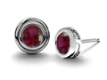14K White Gold Plated 925 Sterling Silver Round Genuine Ruby Earring Studs