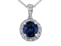 14k White Gold Genuine Diamonds and Round Genuine Sapphire Pendant