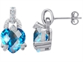 14K White Gold Plated 925 Sterling Silver Heart Shaped Blue Topaz CZ and White Quartz Earrings
