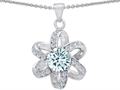 14K White Gold Plated 925 Sterling Silver Round Genuine Aquamarine Flower Pendant