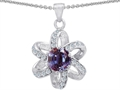 14K White Gold Plated 925 Sterling Silver Round Created Alexandrite Flower Pendant